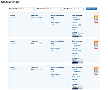Screenshot of online claims history feature